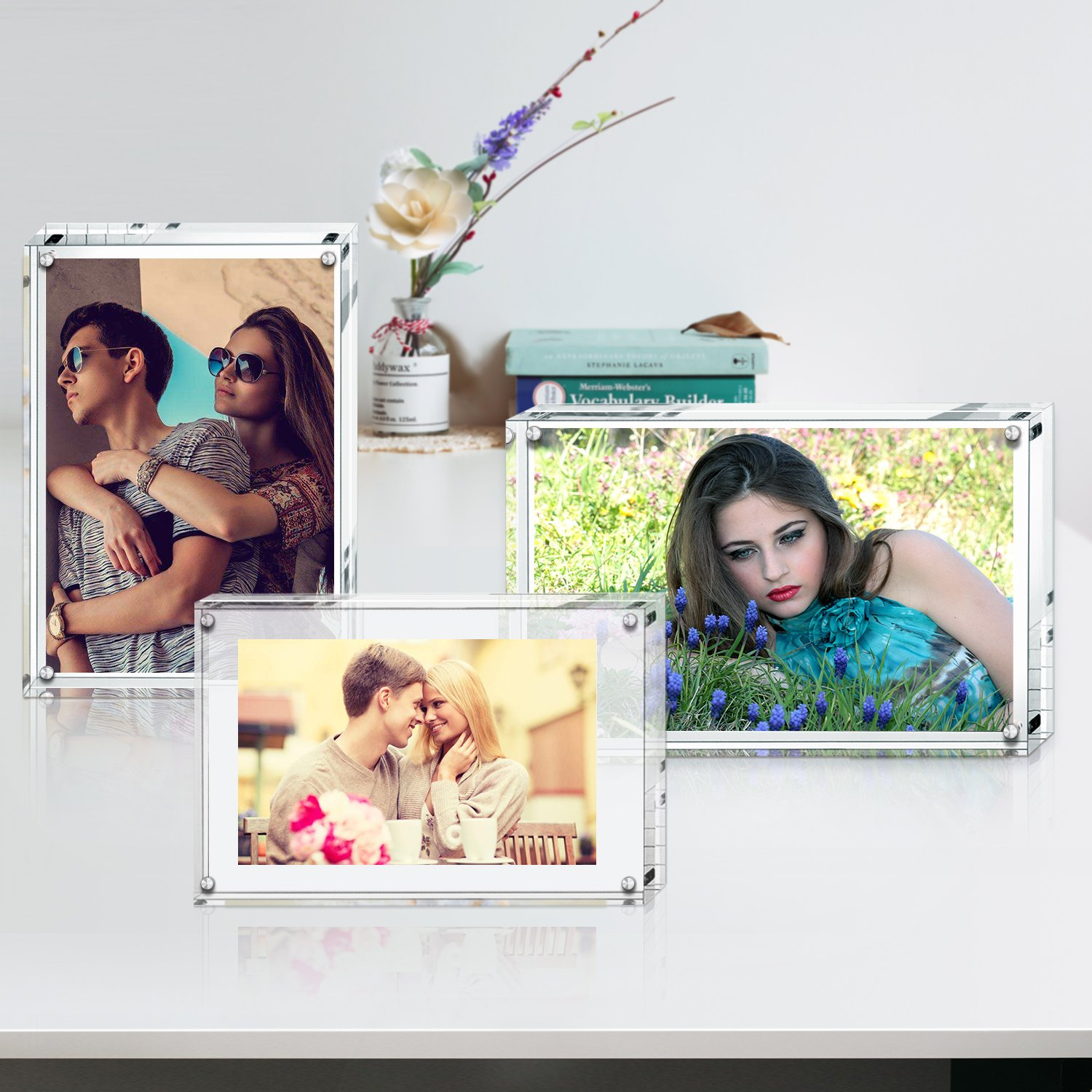 Acrylic Photo Frame, Stand with Magnets, Holds 4 X 6 Inches Pictures,10mm+10mm Thickness Transparent (2packs) by Boxalls
