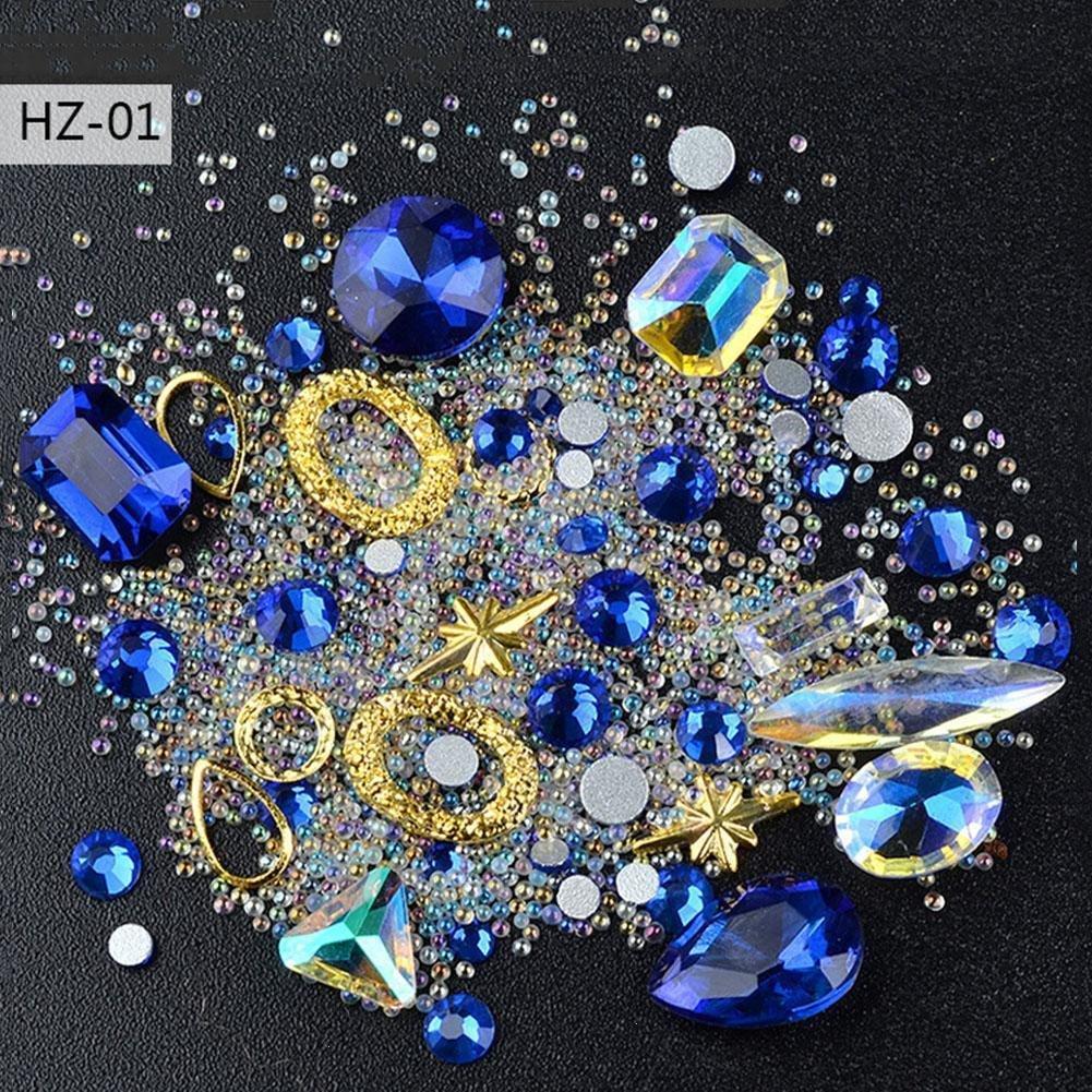 GSTONE Shape Nagel Schmuck scharf Neu die spezielle Diamant transparent AB Kristall Diamant Schmuck Elf Perlen gemischt DIY (1)
