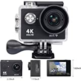 OnLyee 4K WIFI Sports Action Camera Ultra HD Waterproof DV Camcorder 12MP 170 Degree Angle (Black)