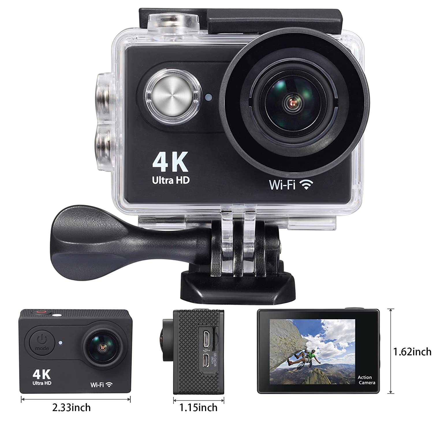 Amazon.com : OnLyee 4K WIFI Sports Action Camera Ultra HD ...