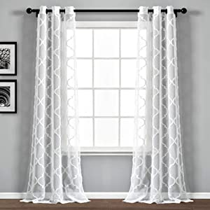 "Lush Decor Beige Avon Trellis Grommet Sheer Window Curtain Panel Pair (84"" x 38""), White (16T004777)"