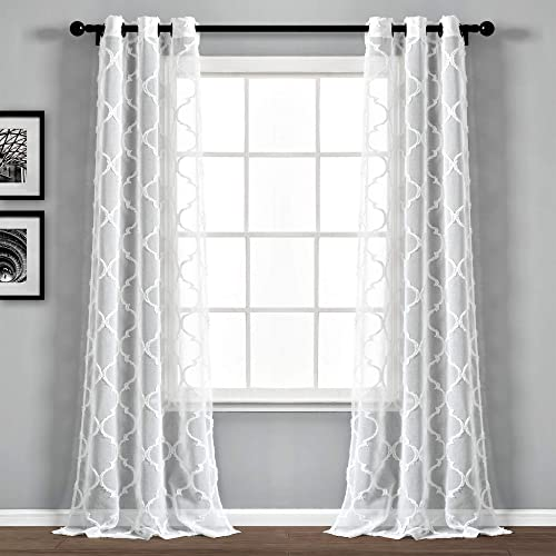 Lush Decor Beige Avon Trellis Grommet Sheer Window Curtain Panel Pair 84″ x 38″