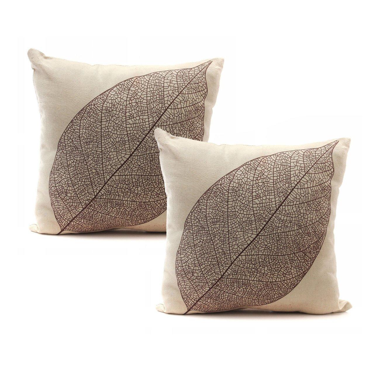 Luxbon set of 2pcs rustic farmhouse leaves decor cotton linen throw pillow cases sofa couch chair decorative cushion covers 18x18 45x45cm insert not