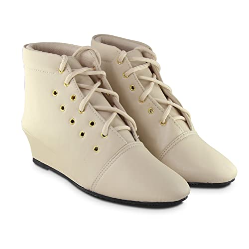 1210d7407c203a SINLITE Stylish Fashionable Trendy Footwear Collection -Synthetic Ankle  Boot for Women   Girl-Beige