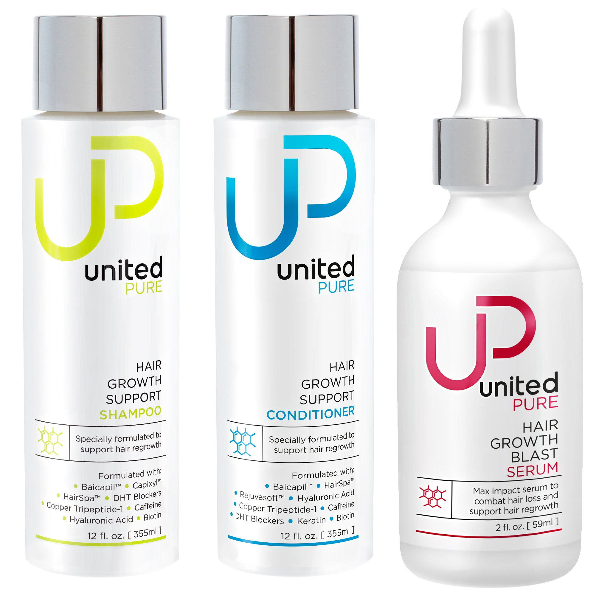 New Hair Growth Support Shampoo, Conditioner, and Serum - United Pure 12oz DHT Blocking Anti Hair Loss Combo w/Redensyl, Baicapil, Capixyl, HairSpa, Biotin, Hyaluronic Acid, Keratin & More