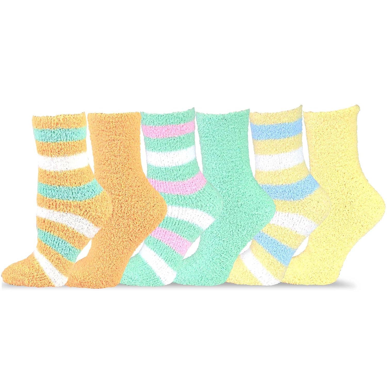 TeeHee Fashionable Cozy Fuzzy Slipper Women's 6 Pairs Crew Socks Soxnet Inc S/11190-6T07-Asst