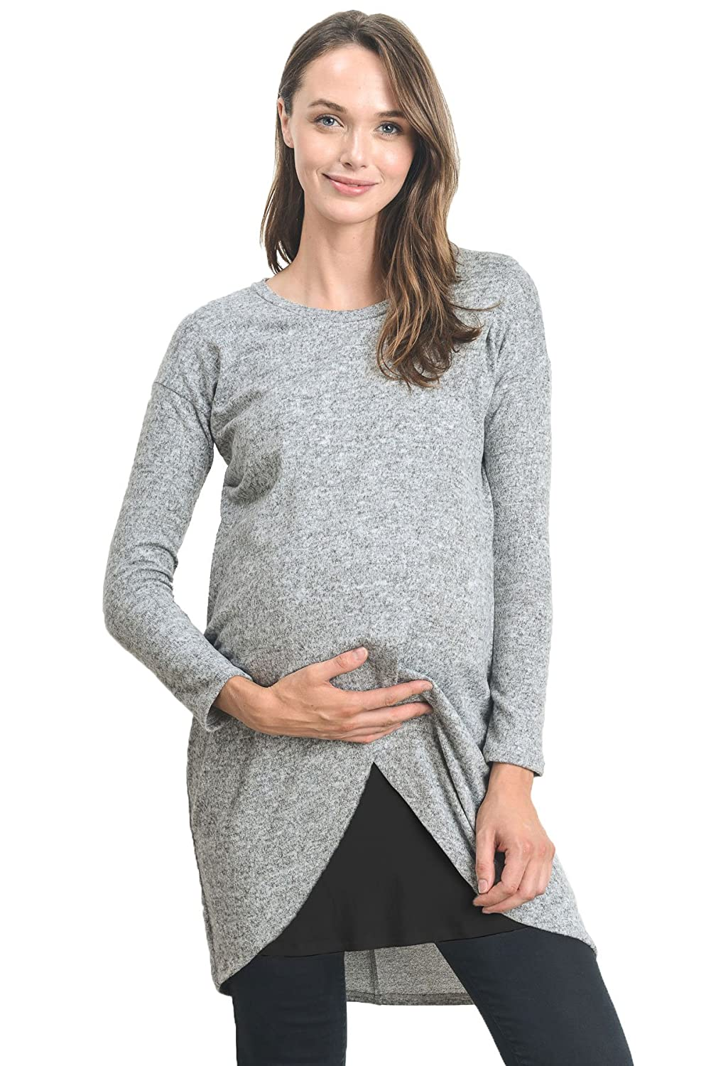 Hello MIZ Women's Sweater Knit Long Sleeve Maternity Nursing Tunic Dress