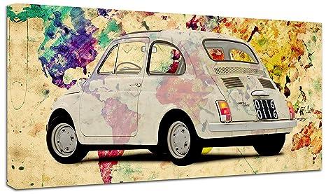 Punto Digital Quadro Moderno Fiat 500 Mondo Vintage Cm 120x60