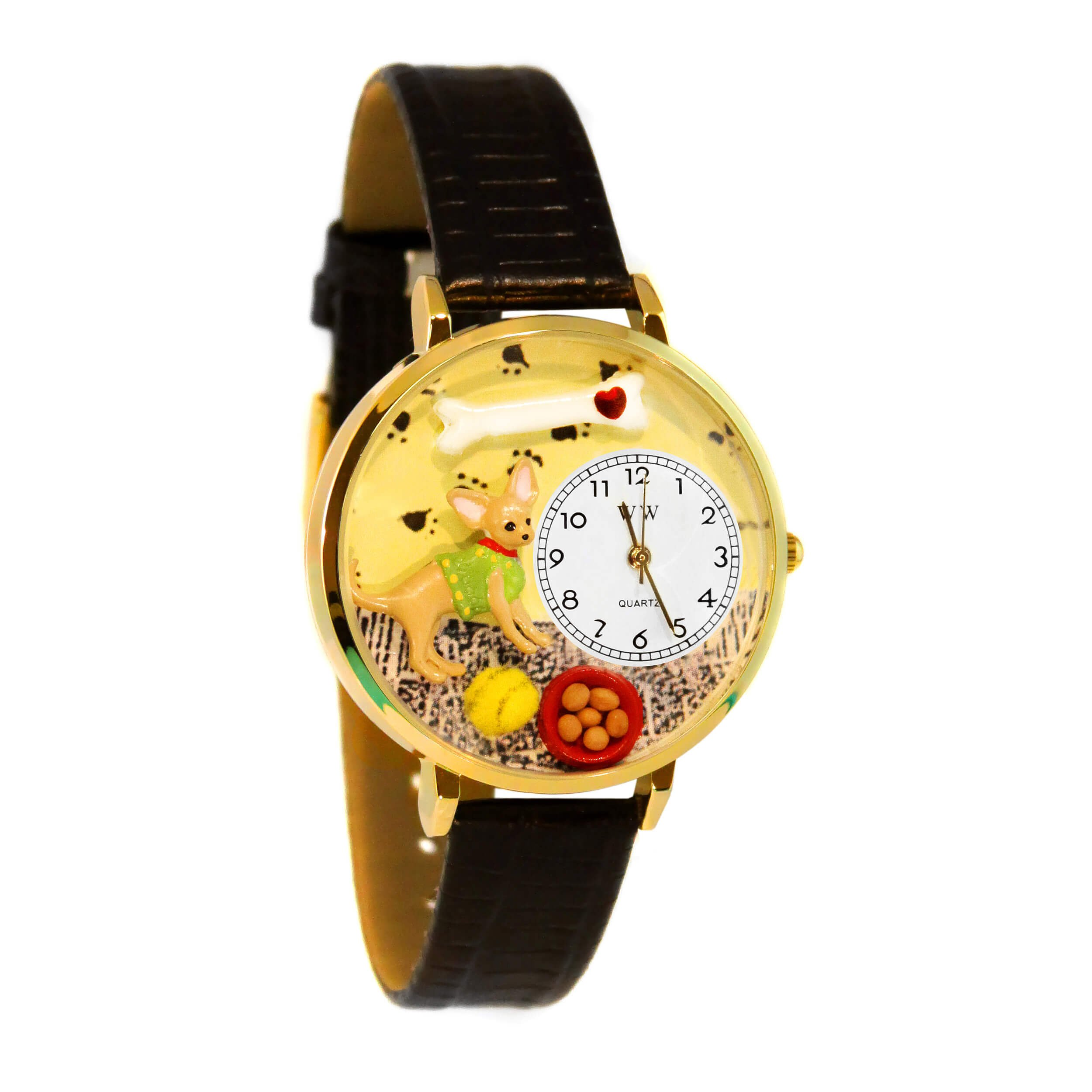 Whimsical Watches Unisex G0130023 Chihuahua Black Skin Leather Watch