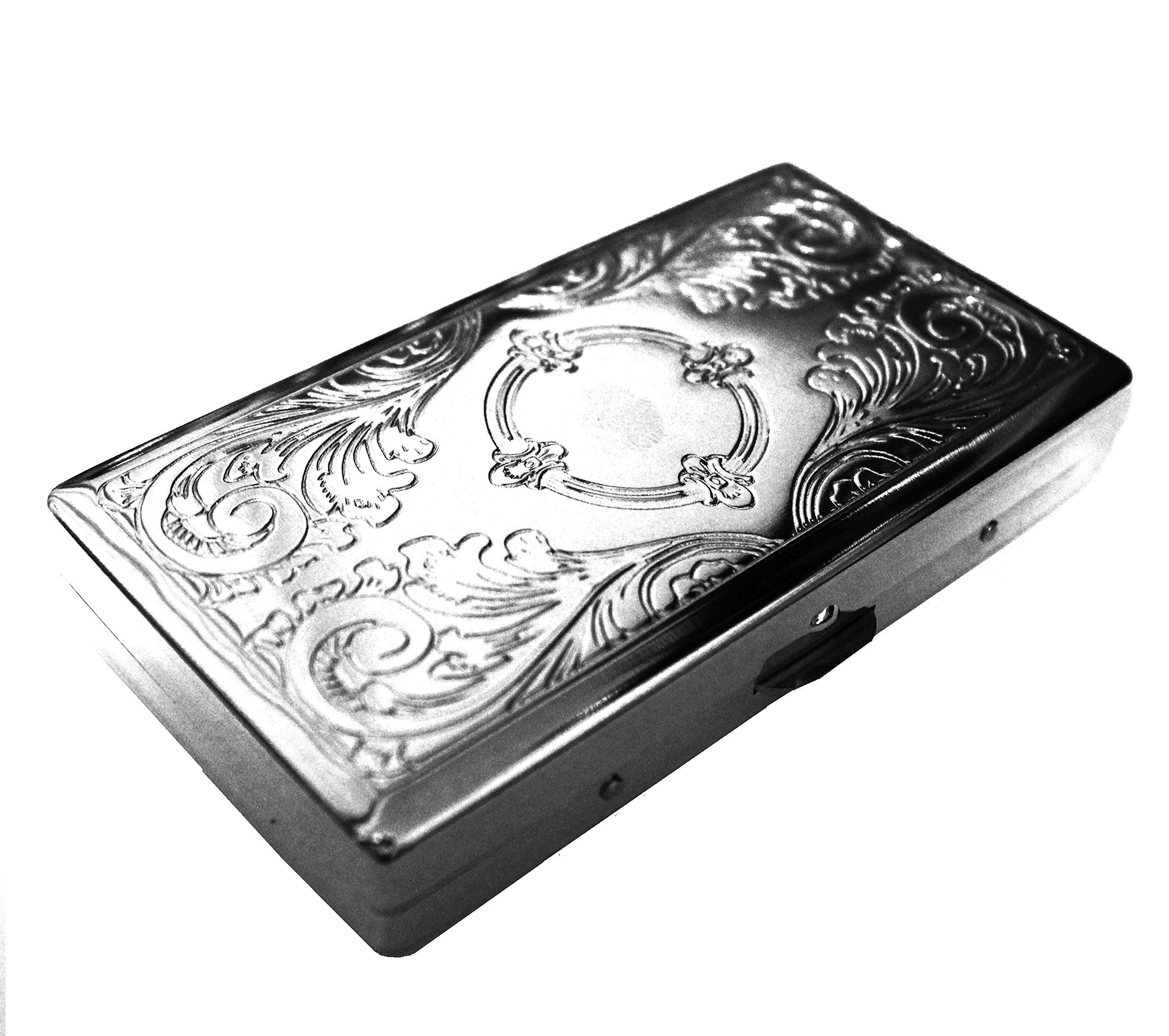 Cigarette Case Victorian Style Metal Holder for Regular, King and 100's Size RFID (Small 100's, Silver)