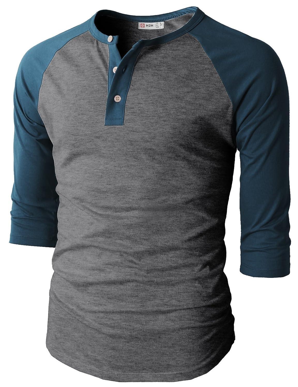 【H2H】ベーシック メンズ カジュアル ファッション オシャレ カラー ヘンリーネック 七分袖 ティーシャツ CMTTS0174 B01LWMZ0UC 3L|チャコールブルー チャコールブルー 3L