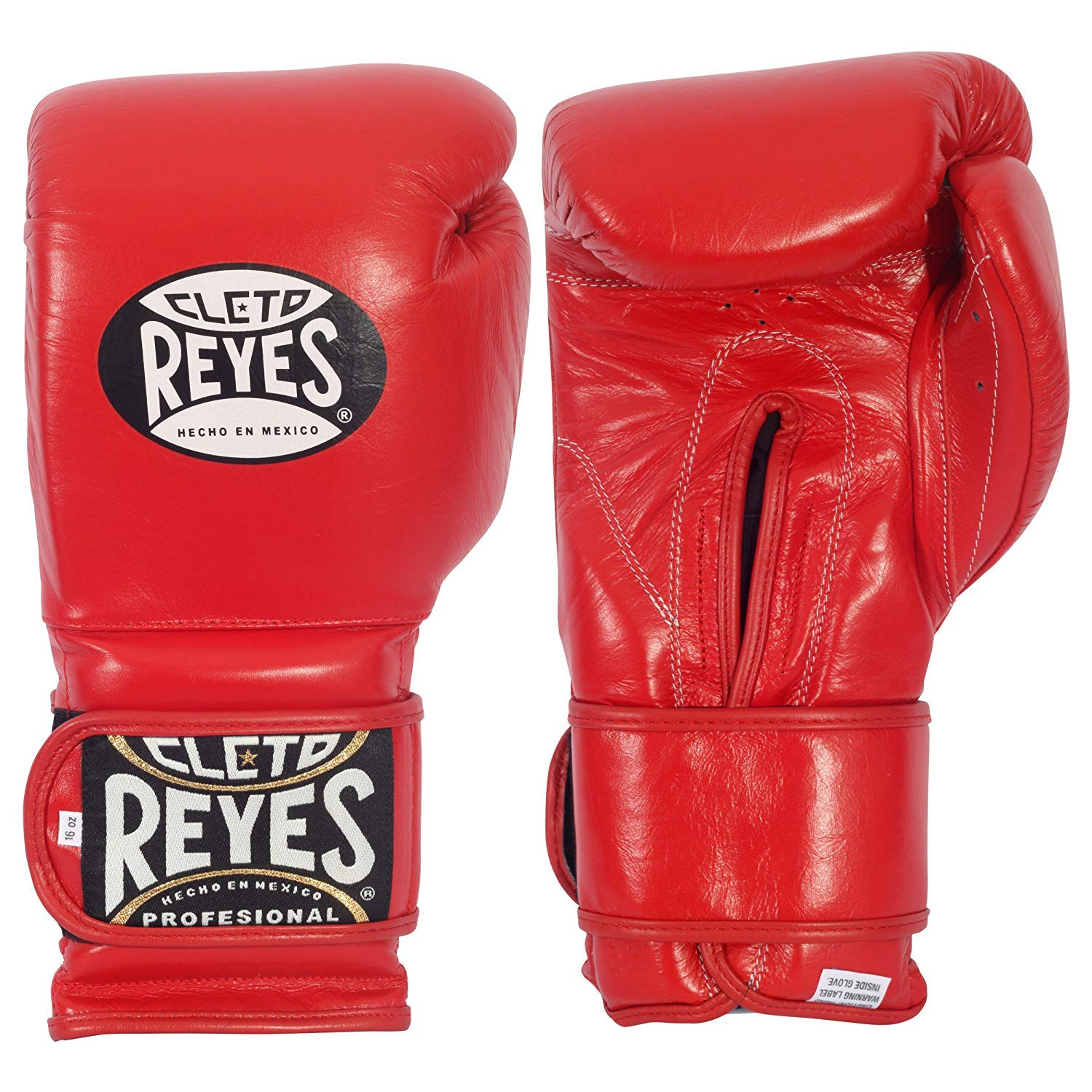 Black Cleto Reyes Leather Boxing Bag Gloves with Hook and Loop Closure
