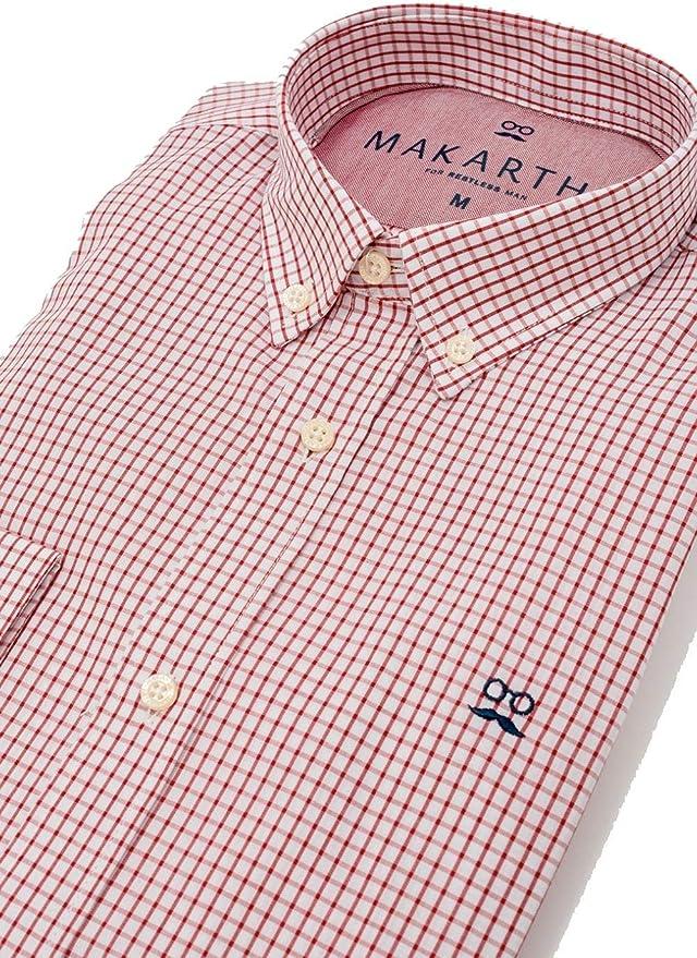MAKARTHY - Camisa Cuadros Vichy Medio Hombre Color: 240 Rojo Talla: Size XXL: Amazon.es: Ropa y accesorios