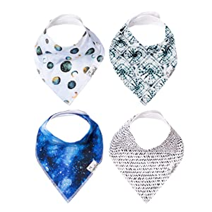 "Baby Bandana Drool Bibs for Drooling and Teething 4 Pack Gift Set ""Galaxy"" by Copper Pearl"