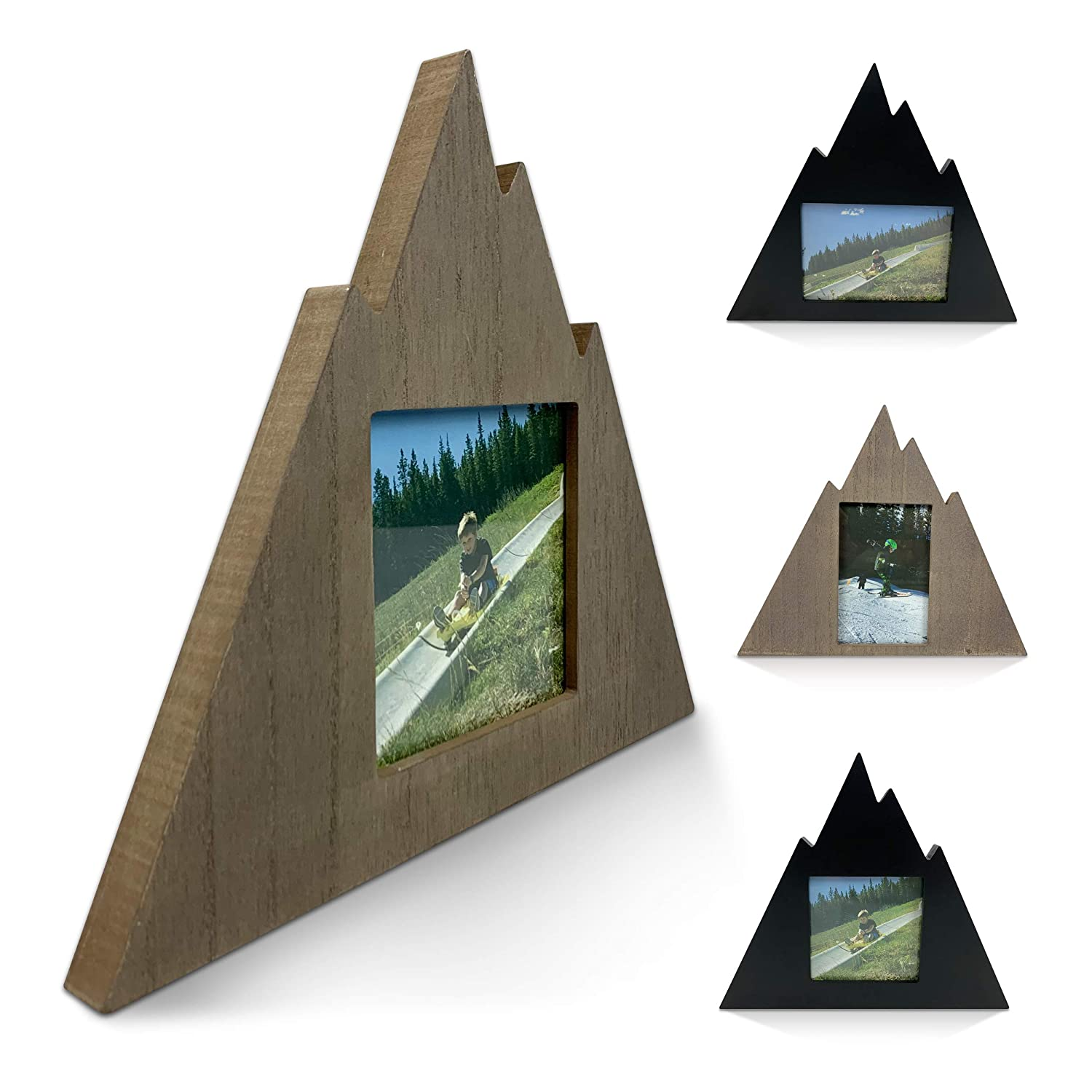 Mountain Shaped Outdoor Picture Photo Frame - Contemporary Geometric Modern Home Mountain Cabin Decor Wooden Wall Picture Frame (Rustic Gray - 4x4 Picture Frame)