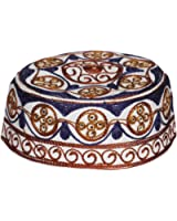 Muslim Prayer Cap Kufi Topi with Blue Beautiful Round Shaped Embroidery
