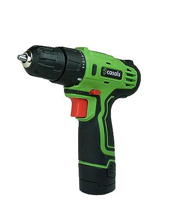 Casals VDLI12 - Taladro atornillador con batería de litio de 12 V (1,3 Ah, 750 rpm, 17 Nm) color verde y negro