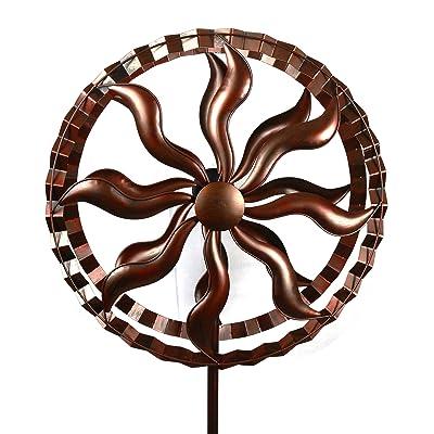 MJ SPINNER DESIGNS Fire Wheel Style Kinetic Wind Garden Spinner : Garden & Outdoor