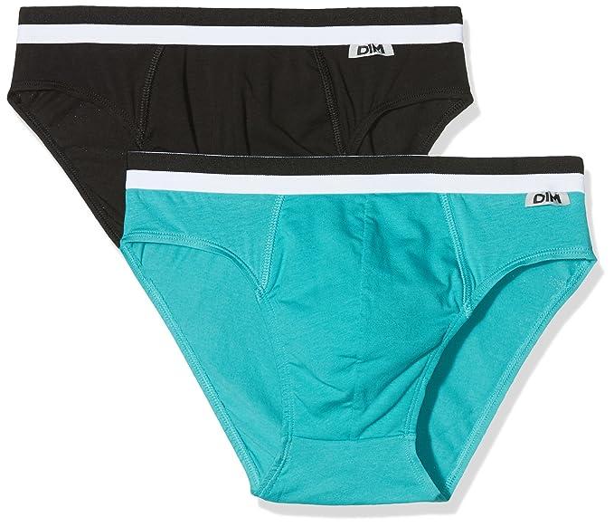 Unno DIM Basic Slip Coton Stretch X2 Basi, Hombre, (Negro/Azul Claro