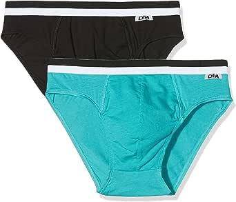 Unno DIM Basic Slip Coton Stretch X2 Dim Basi, Multicolor (Negro ...