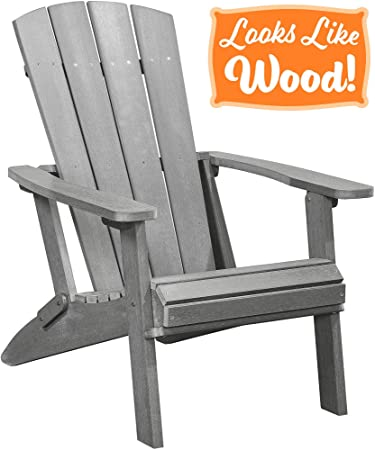 PolyTEAK Modern Oversized Folding Poly Adirondack Chair, Stone Gray Adult-Size, Weather Resistant, Made from Plastic