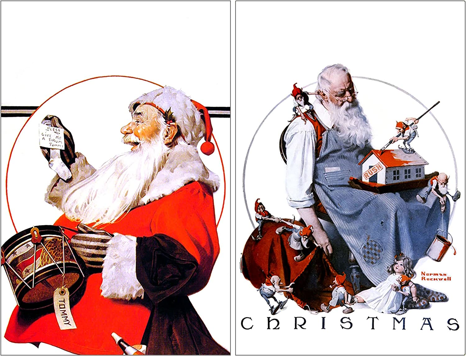 Buttonsmith Norman Rockwell Santa Rectangular Refrigerator Magnet Set - Made in the USA