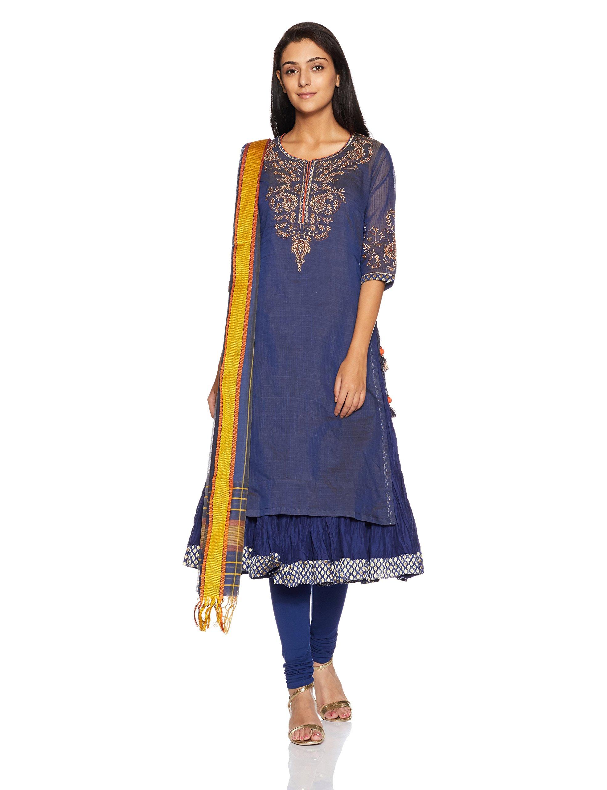 BIBA Women's Straight Poly Cotton & Viscose Suit Set 32 Navy Blue