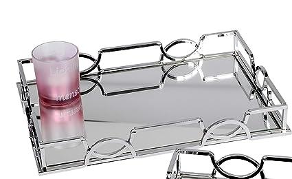 Bandeja decorativa espejo Espejo mesa ondulada en metal y vidrio plata 38x26 cm