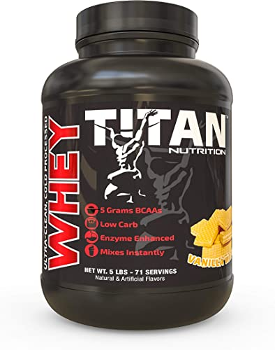 Titan WHEY Premium Whey Protein Powder for Improved Muscle Recovery with 23 Grams of Clean Whey Protein BCAA and Digestive Enzymes 5lb, Vanilla Wafer
