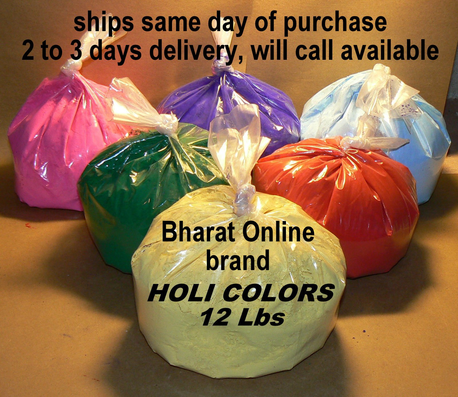 Gaura Purnima/Holi HOLI Colors 12 Lbs 6 colors bharat online brand only avalable from this store (2lbs ea color) Green, Violet , Pink, Red, Blue, and Yellow- SAME DAY SHIPPING