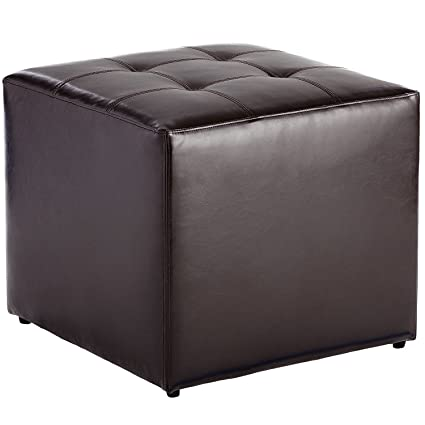 Swell Pier 1 Imports Bonded Leather Brown Square Tufted Ottoman Ibusinesslaw Wood Chair Design Ideas Ibusinesslaworg