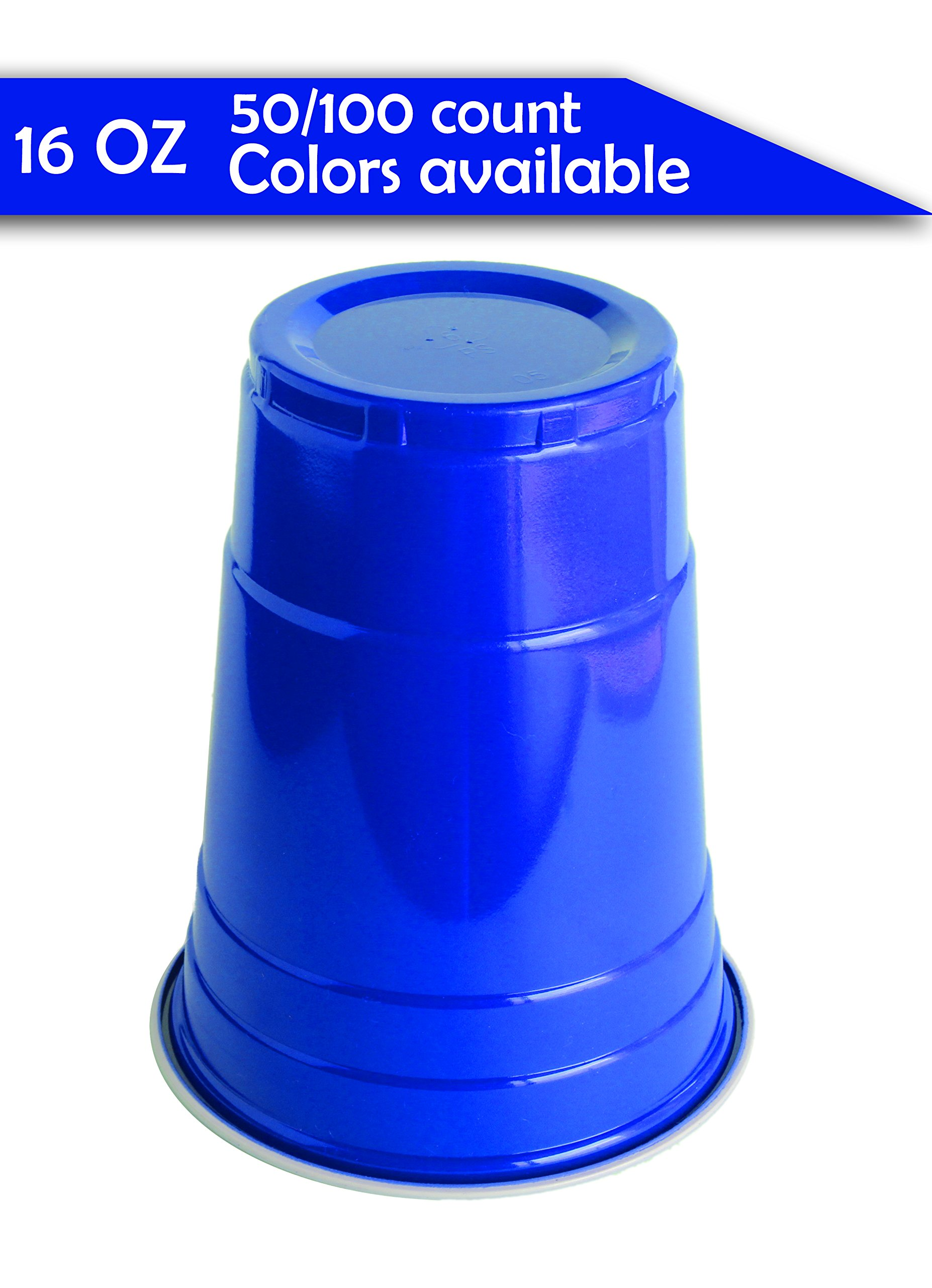 Jaaia Disposable/Reusable Plastic Party Cups (birthday,graduation,bachelorette,wedding,beach,garden,beer pong) 16 Ounce (16 OZ) 50/100 Count Red/Blue, High Quality (Blue, 100-Count)