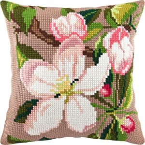 Apple Bloom. Cross Stitch Kit. Throw Pillow Case 16×16 Inches. Extra Stiff Canvas