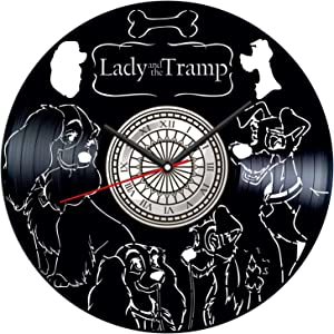 Lady and The Tramp Vinyl Record Wall Clock Poster - Vintage Home Decor Kitchen Bedroom Living Room Kids Room - Unique Handmade Gift for Kids Friends Boys Girls - 12 inches