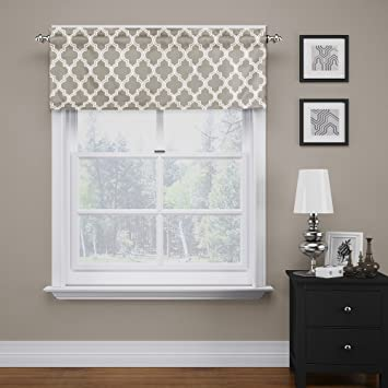 FlamingoP Quatrefoil Dove Valance Curtain Extra Wide And Short Window  Treatment For Kitchen Living Dining Room