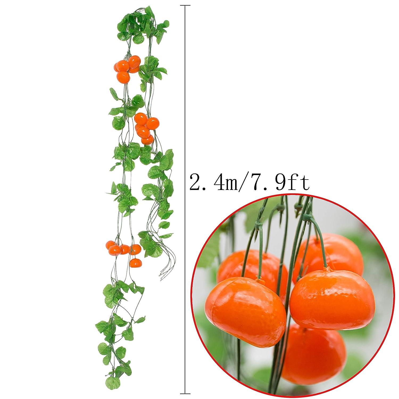 SPECOOL Especol 10 hebras (80 pies) de mar Artificial de Hojas Verdes y Fresas para Colgar en la Planta de Vid para Boda, Fiesta, jardín, decoración de ...