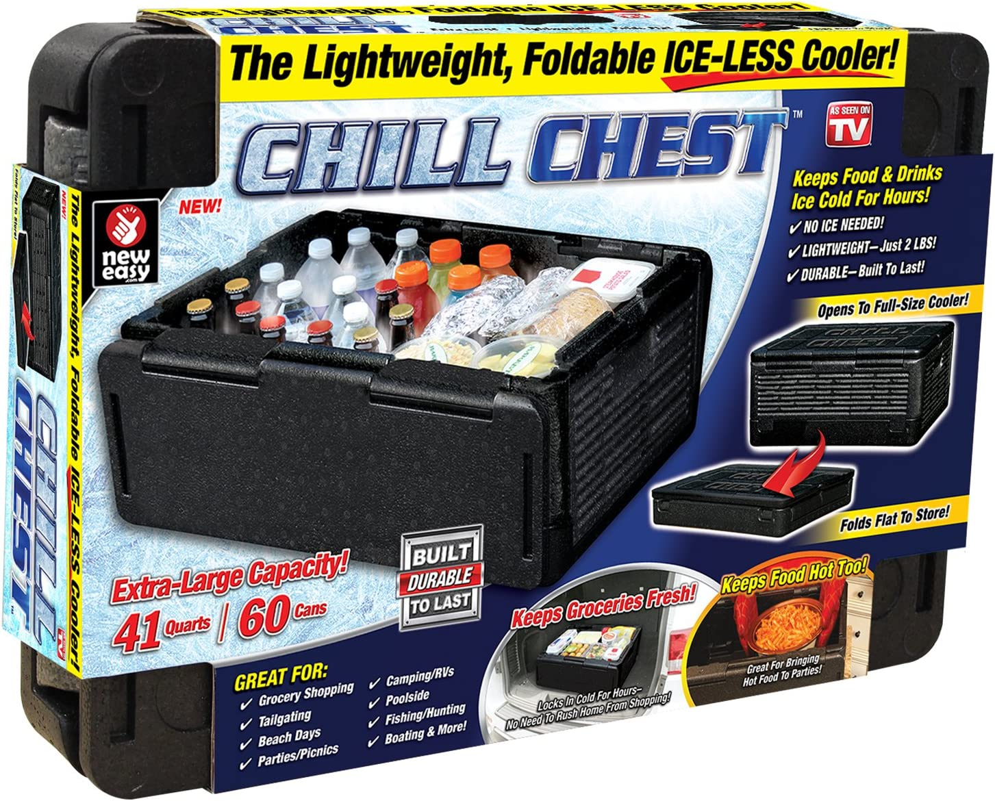 ONTEL Chill Chest Cooler 60 Cans, Collapsible, Insulated, Lightweight, Portable, Waterproof Great for Parties, Picnics, Camping, Beach, Tailgating, Fishing, Hunting, Boating and More