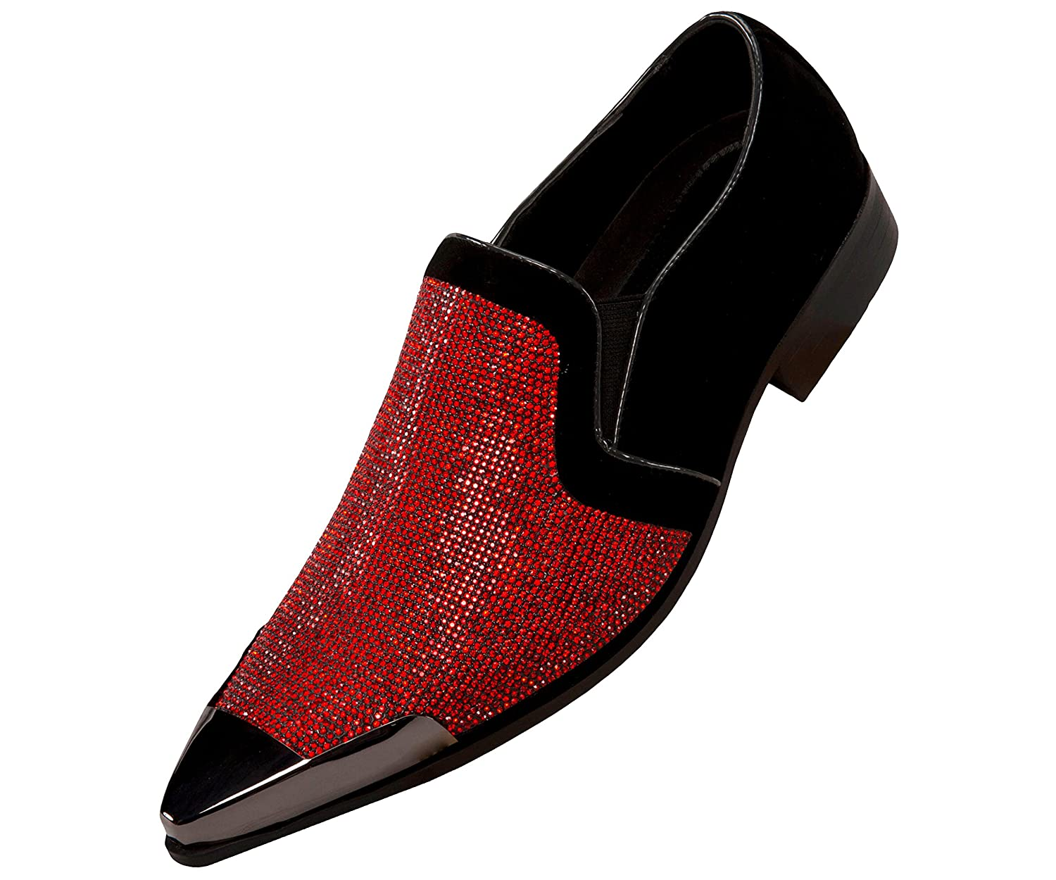 Bolano Mens Rhinestone Embellished and Faux Suede Trim with Metal Tip Dress Shoe, Comfortable Slip-On B07B1HNVWK 12 D(M) US|Black/Red