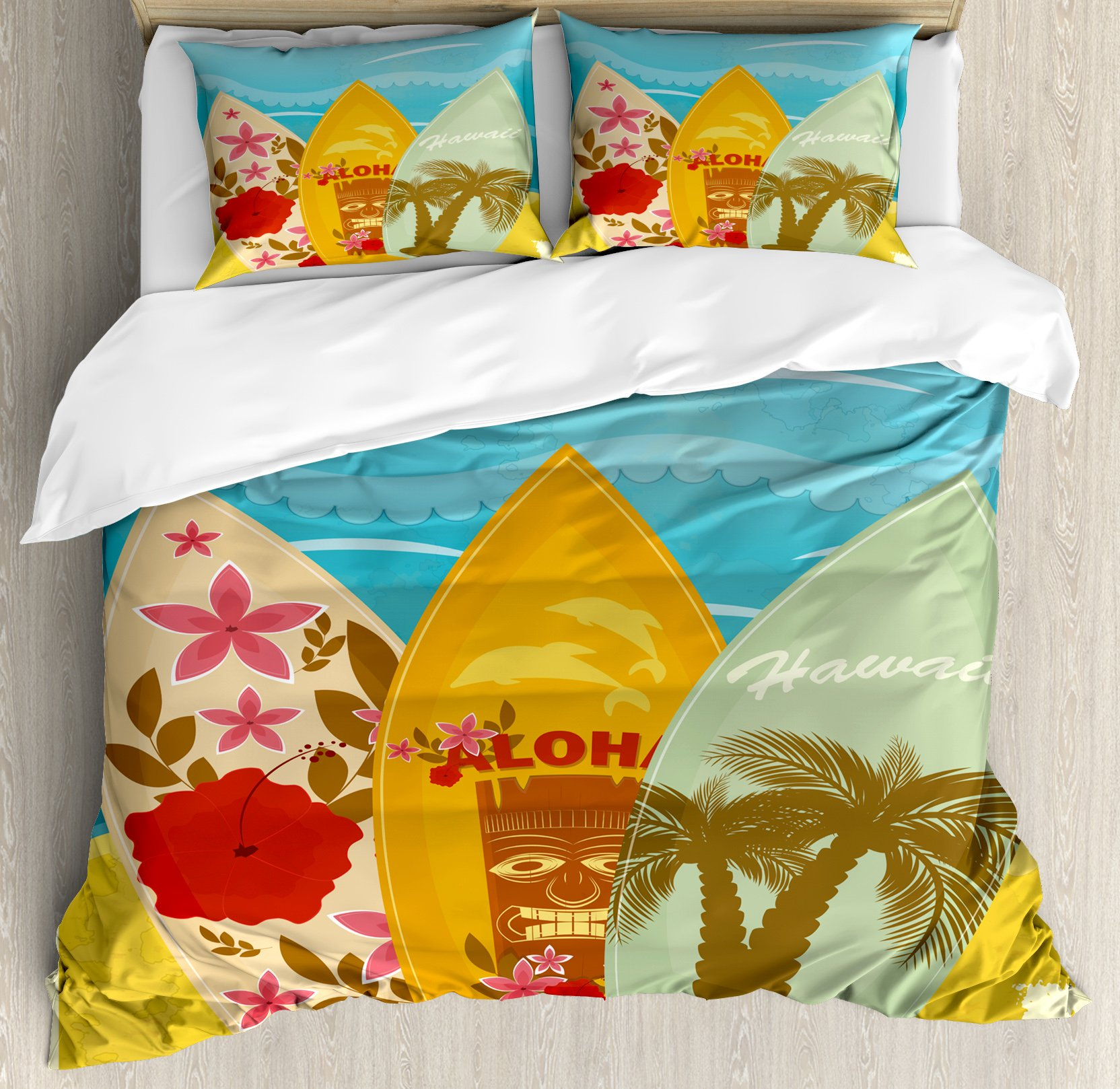 Ambesonne Tiki Bar Decor Duvet Cover Set Queen Size by, Hawaiian Beach Surfboards on Sand Exotic Summer Vacation Sport Vintage Style, Decorative 3 Piece Bedding Set with 2 Pillow Shams, Multicolor
