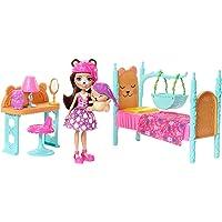 Enchantimals Coffret La Chambre de l'Ours, Mini-poupée Bren Ours et Figurine Animale Snore avec lit et accessoires, jouet enfant, FRH46