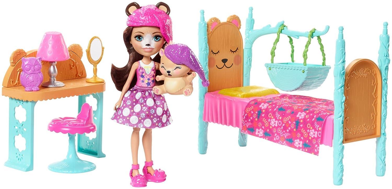 Enchantimals Coffret La Chambre de l'Ours, Mini-poupée Bren Ours et Figurine Animale Snore avec lit et accessoires, jouet enfant, FRH46 Mattel