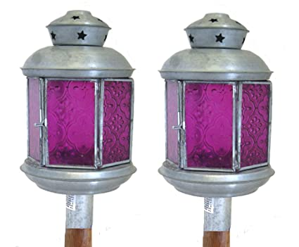 Rústico Jardín Lámparas de té luz vela en madera con clavos poste de extensión, Patio