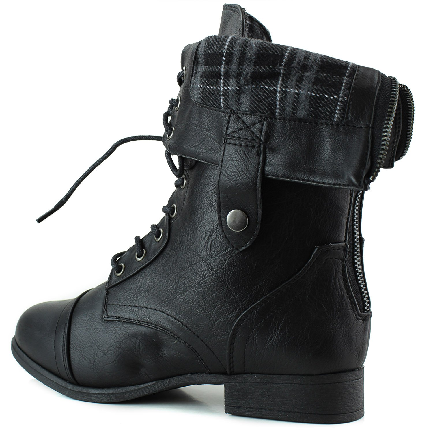 Amazon.com | Women's Military Lace up Fold-able Ankle Bootie Mid ...