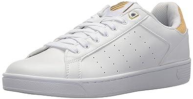 K-Swiss Women's Clean Court CMF Sneaker, White/Bright Gold, ...