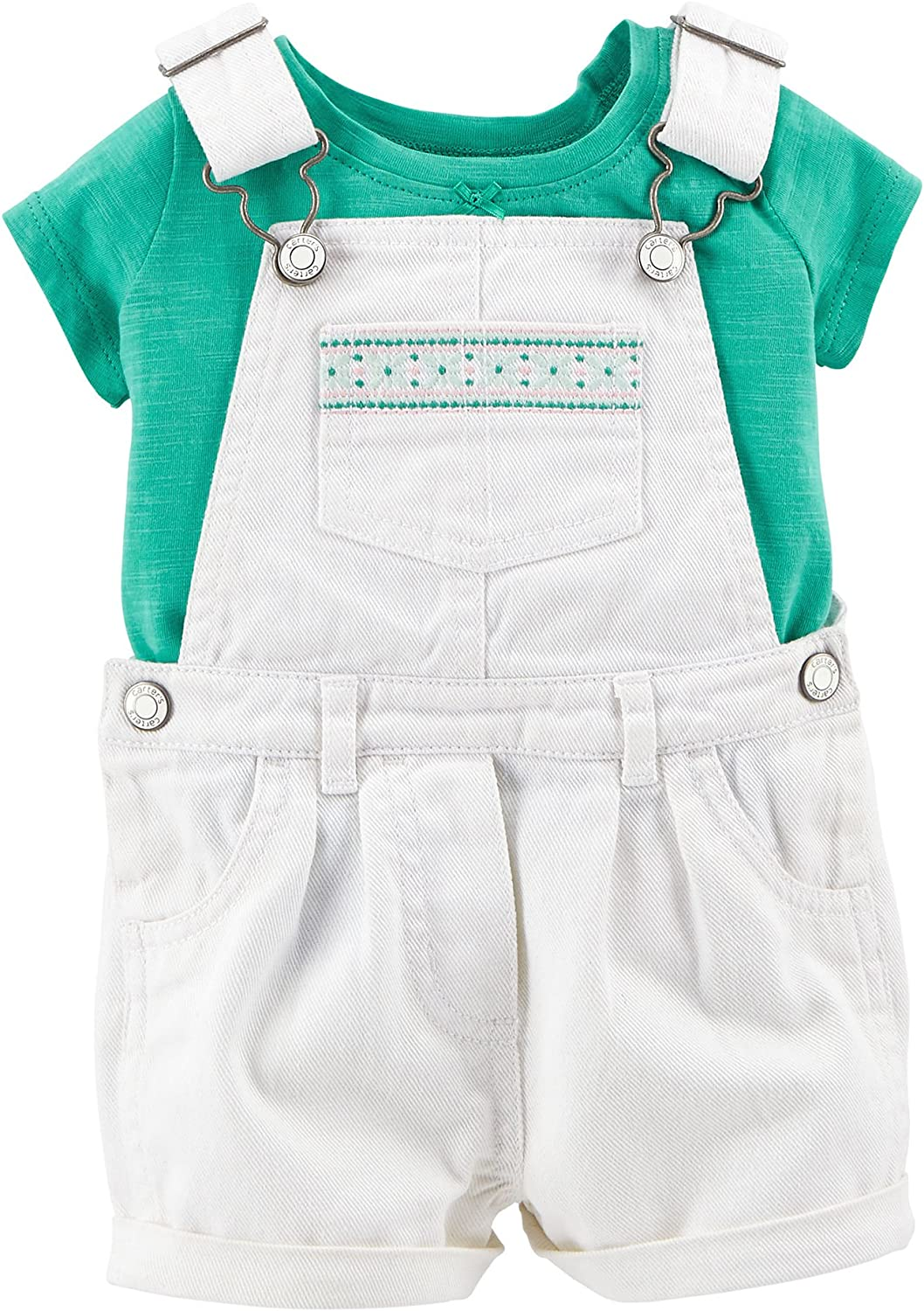 Carters Baby Girl 2-Piece Tee /& Shortalls Set
