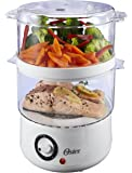 Oster Double Tiered Food Steamer, 5 Quart, White (CKSTSTMD5-W-015)