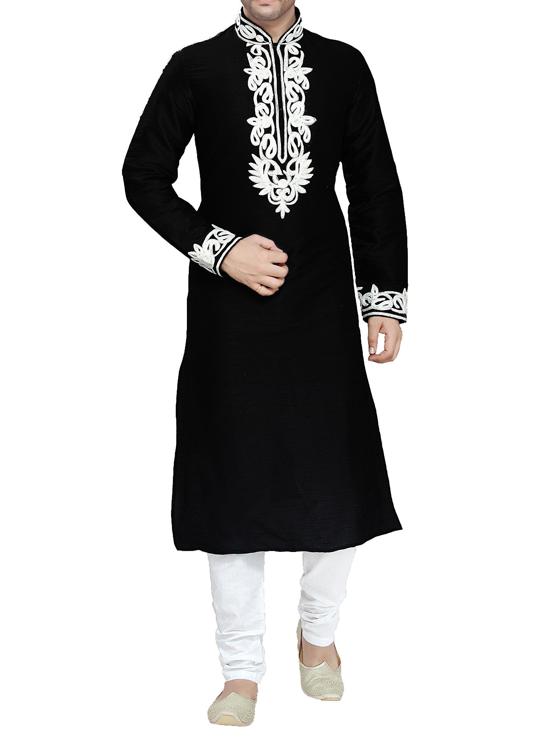 Kurti Mania Cotton Kurta Shalwar Bold White Embroidery (Black, L)