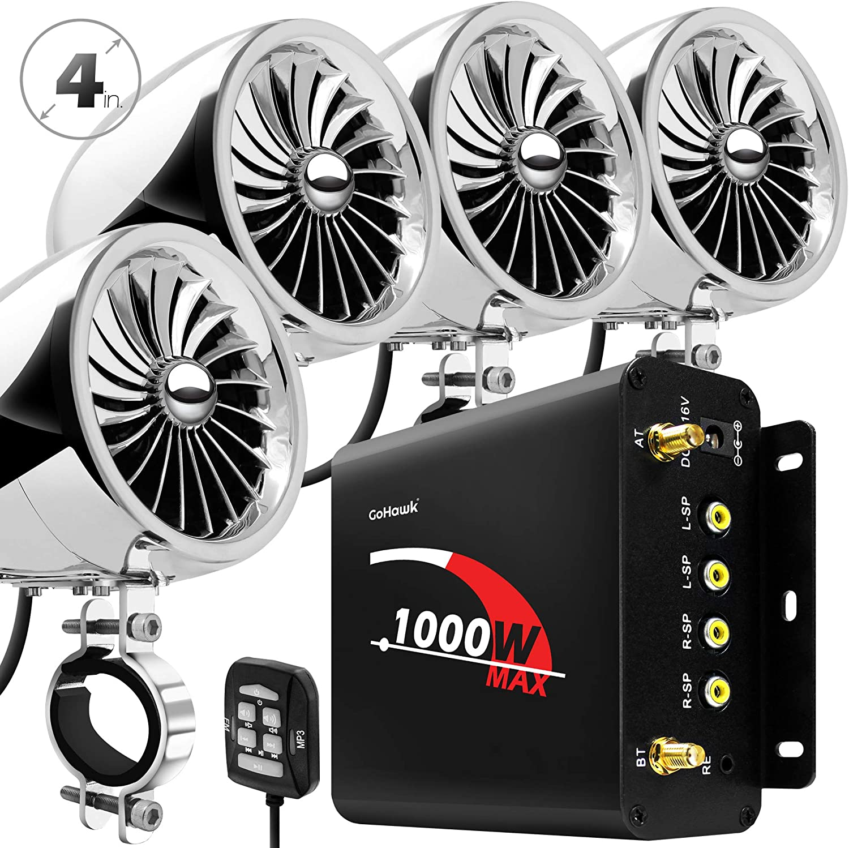 "GoHawk TJ4-Q 1000W 4 Channel Amplifier 4"" Full Range Waterproof Bluetooth Motorcycle Stereo Speakers Audio System AUX USB SD Radio for 1-1.5"" Handlebar Harley Touring Cruiser ATV"