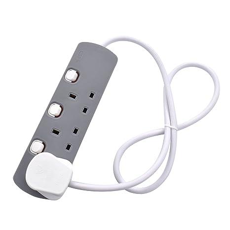 White Power Cable Three Gang Multi Plug Socket Black 3-Way Extension Lead