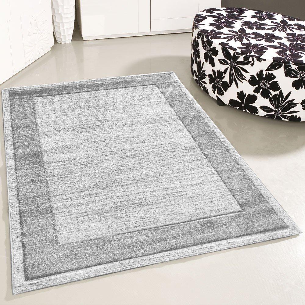 Mynes Home Teppich Kurzflor Grau einfarbig Modern Wohnzimmerteppich Wohnzimmer Umrandung Bordüre Designer (200cm x 290cm)